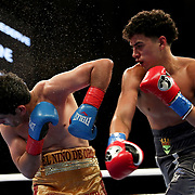 HOLLYWOOD, FL - APRIL 17:  Aaron Aponte punches Javier Martinez at Seminole Hard Rock Hotel & Casino on April 17, 2021 in Hollywood, Florida. (Photo by Alex Menendez/Getty Images) *** Local Caption *** Aaron Aponte; Javier Martinez