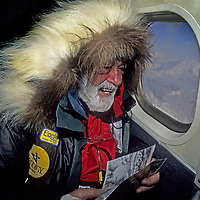 ANTARCTICA. 88-year old Norman Vaughan first glimpses mountain in Trans-Antarctic Range named after him by Richard Byrd in 1929. He climbed it 2 weeks later.