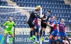 Falkirk's Jordan McGhee heads over. Falkirk 0 v 0 Inverness Caledonian Thistle, Scottish Championship game played 14/10/2017 at The Falkirk Stadium.