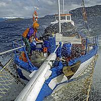 "CORDILLERA SARMIENTO, Patagonia, Chile. Rob Hart (MR) ties down cargo on motor-sailer ""Trinidad"" during heavy seas near Fjord of the Mountains, east of Puerto Natales."