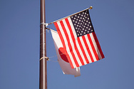 May 25, 2019, Tokyo, Japan: Around the main government districts of Kasumigaseki and Natagacho, US and Japanese flags could be be seen flying to welcome Donald Trump to Japan. The president touched down today to start an official four day state visit where he will conduct trade negotiations and the threat of North Korea. He will also meet with Japan's new emperor Naruhito, play a round of golf with PM Abe and attend a sumo tournament. Photo by Torin Boyd.