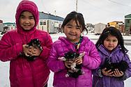 Little girls with their puppy