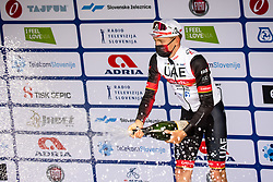 Tadej POGACAR of UAE TEAM EMIRATES celebrates victory at trophy ceremony after 2nd Stage of 27th Tour of Slovenia 2021 cycling race between Zalec and Celje (147 km), on June 10, 2021 in Slovenia. Photo by Matic Klansek Velej / Sportida