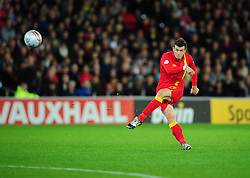 Wales Gareth Bale (Tottenham)  fires his free kick over - Photo mandatory by-line: Joe Meredith/JMP  - Tel: Mobile:07966 386802 12/10/2012 - Wales v Scotland - SPORT - FOOTBALL - World Cup Qualifier -  Cardiff   - Cardiff City Stadium -