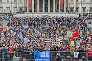 """Trafalgar square - A CND led national demonstration to protest against Britain's nuclear weapons system: Trident. They state - """"The majority of the British people, including the Labour leader Jeremy Corbyn, oppose nuclear weapons. They are weapons of mass destruction, they don't keep us safe and they divert resources from essential spending."""" The march from Hyde park to Trafalgar Square was supported by Friends of the Earth, the Green party, Greenpeace, the PCS Union, the Quakers, the Stop the War Coalition, War on Want amongst amny others."""