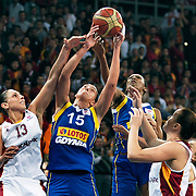 Galatasaray's Diana TAURASI (L) and Lotos Gdynia's Ines AJANOVIC (2ndL) during their woman Euroleague group A matchday 5 Galatasaray between Lotos Gdynia at the Abdi Ipekci Arena in Istanbul at Turkey on Wednesday, November 09 2011. Photo by TURKPIX