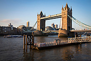 A view of Tower Bridge from St. Katharine Pier in London, United Kingdom. An MBNA Thames clipper, the fastest and most frequent mode of travel on the River Thames.  (photo by Andrew Aitchison / In pictures via Getty Images)