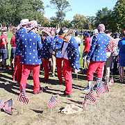 Ryder Cup 2016. Day Three. Spectators watching the action on the sixteenth during the Sunday singles competition at  the Ryder Cup tournament at Hazeltine National Golf Club on October 02, 2016 in Chaska, Minnesota.  (Photo by Tim Clayton/Corbis via Getty Images)