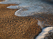 Waves forming cusps on shingle beach, Bawdsey, Suffolk, England