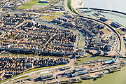 Nederland, Friesland, Harlingen, 28-02-2016; overzicht Harlingen met Noorderhaven en Zuiderhaven.<br /> Overview Harlingen harbor.<br /> luchtfoto (toeslag op standard tarieven);<br /> aerial photo (additional fee required);<br /> copyright foto/photo Siebe Swart