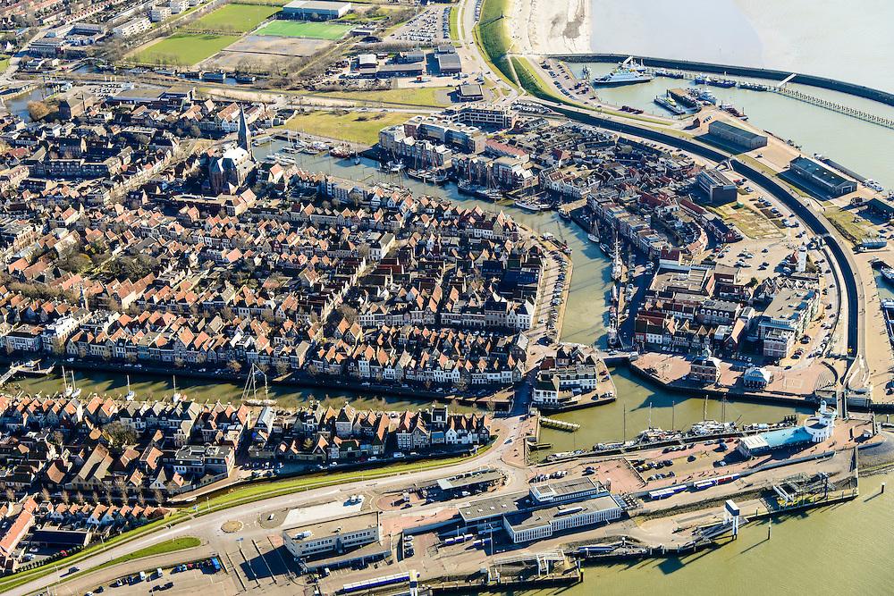 Nederland, Friesland, Harlingen, 28-02-2016; overzicht Harlingen met Noorderhaven en Zuiderhaven.<br /> Overview Harlingen harbor.<br /> luchtfoto (toeslag op standard tarieven);<br /> aerial photo (additional fee required);<br /> copyright foto/photo Siebe Swart