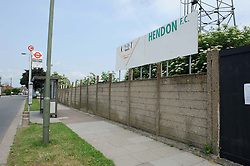 © Licensed to London News Pictures. 26/06/2013 London, UK. General view of Hendon FC where 68 Romanian illegal immigrants were evicted in joint Home Office, met Police and homeless charity operation. Photo credit : Simon Jacobs/LNP