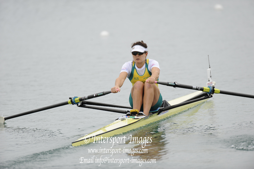 Munich, GERMANY. AUS1 W1X. Sally KEHOE. 2010 FISA World Cup. Olympic Rowing Course, Munich.  Friday  18/06/2010   [Mandatory Credit Peter Spurrier/ Intersport Images]
