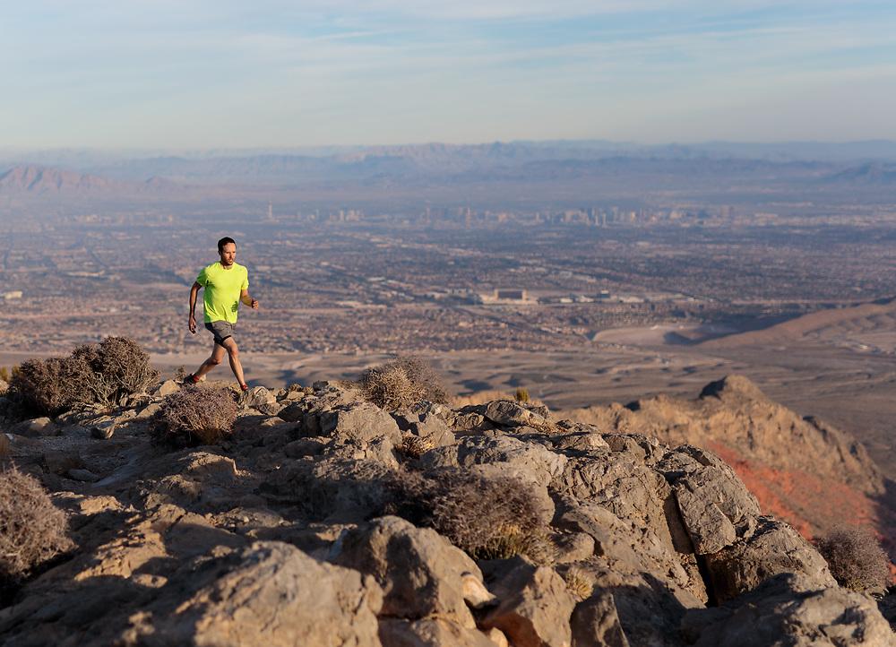 Mark Howell trail running Turtlehead Peak in Red Rock Canyon, Las Vegas, NV