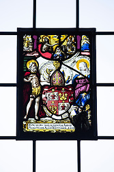 © London News Pictures. Pictured - The stain glass windows in the Stone room that were taken from York Minster in 1800's. Previously unseen pictures of Beatrix potter with her family have been unearthed during the purchase and restoration of the Lingholm Estate, the Potter family holiday home, where Beatrix potter drew inspiration for many of her most famous characters. Famous books such as Peter Rabbit and Squirrel Nutkin were inspired by the surroundings of the Cumbria estate, which is being opened to the public for the first time. Photo credit: Andrew McCaren/LNP WORDS AVAILABLE HERE http://tinyurl.com/oyb7url