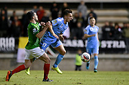 SYDNEY, AUSTRALIA - AUGUST 21: Marconi Stallions player Robert Speranza (4) pushes Melbourne City player Denis Genreau (17) during the FFA Cup round of 16 soccer match between Marconi Stallions FC and Melbourne City FC on August 21, 2019 at Marconi Stadium in Sydney, Australia. (Photo by Speed Media/Icon Sportswire)