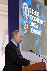 April 26, 2018 - Saint Petersburg, Russia - April 26, 2018. - Russia, Saint Petersburg. - Russian President Vladimir Putin speaks at a meeting of the 11th Convention of the Rector Union hosted by the Peter the Great St. Petersburg Polytechnical University (Credit Image: © Russian Look via ZUMA Wire)