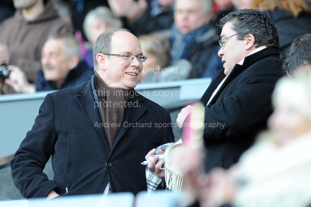 Prince Albert of Monaco watches the match from the stand . Barclays premier league match, Swansea city v Sunderland at the Liberty stadium in Swansea, South Wales on Saturday 7th Feb 2015.<br /> pic by Andrew Orchard, Andrew Orchard sports photography.