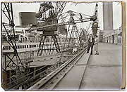 terminal roof view point of docked large passenger ocean liner ship 1930s