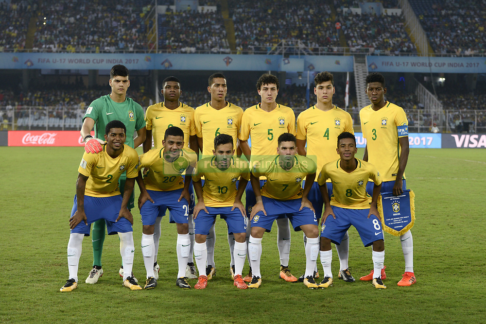 October 25, 2017 - Kolkata, West Bengal, India - Brazil football team poses for team picture during the FIFA U 17 World Cup India 2017 Semi Final match in Kolkata.Players of England and Brazil in action during the FIFA U 17 World Cup India 2017 Semi Final match on October 25, 2017 in Kolkata. (Credit Image: © Saikat Paul/Pacific Press via ZUMA Wire)