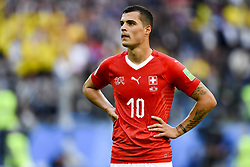 July 3, 2018 - Saint Petersburg, Russia - Granit Xhaka of Switzerland disappointed during the 2018 FIFA World Cup Round of 16 match between Sweden and Switzerland at Sankt Petersburg Stadium in Sankt Petersburg, Russia on July 3, 2018  (Credit Image: © Andrew Surma/NurPhoto via ZUMA Press)