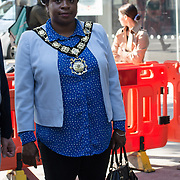 Councillor Sabrina Francis ,Mayor of Camden attended Let's Do London Autumn culture season with spectacular public street art installations to unveil Bring London Together – a spectacular new public art commission transforming 18 pedestrian crossings with distinctive playful designs using a bright colour pallet and bold forms. The 'Bring London Together'  at Tottenham Court Road on 2021-09-16 London, UK.