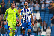 Brighton & Hove Albion centre forward Glenn Murray & Brighton & Hove Albion goalkeeper David Stockdale are all smiles at the final whistle during the EFL Sky Bet Championship match between Brighton and Hove Albion and Barnsley at the American Express Community Stadium, Brighton and Hove, England on 24 September 2016. Photo by Bennett Dean.