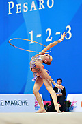 "Andreotti Jaedyn during hoop routine at the International Tournament of rhythmic gymnastics ""Città di Pesaro"", 01 April,2016. Jaedyn is an Canadian individualistic gymnast, born in  Calgary, 2002.<br />