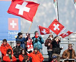 10.03.2010, Kandahar Strecke Damen, Garmisch Partenkirchen, GER, FIS Worldcup Alpin Ski, Garmisch, Lady Downhill, im Bild Feature, Schweizer Fans mit Schweizer Nationalflagge, EXPA Pictures © 2010, PhotoCredit: EXPA/ J. Groder / SPORTIDA PHOTO AGENCY