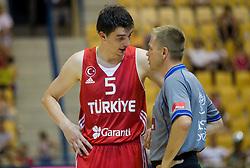 Emir Preldzic of Turkey and referee Damir Javor during friendly match between National teams of Slovenia and Turkey for Eurobasket 2013 on August 4, 2013 in Arena Zlatorog, Celje, Slovenia. (Photo by Vid Ponikvar / Sportida.com)
