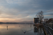 Varese. Lombardia. ITALY. General View. Varese Rowing Club. [Canottieri Varese] Province of Varese.  Sunset. Finishing Tower<br /> <br /> Monday  02/01/2017<br /> <br /> [Mandatory Credit; Peter Spurrier/Intersport-images]<br /> <br /> <br /> LEICA CAMERA AG - LEICA Q (Typ 116) - 1/200 - f4 , Atmospheric, mist, fog, Sunrise, Sunset, Blue Hour,