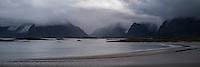 Stormy weather over Yttersand beach, Moskenesøy, Lofoten Islands, Norway