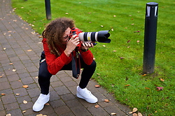 CARDIFF, WALES - Friday, November 16, 2018: Wales' Ethan Ampadu tries his hand at being a photographer during a pre-match walk at the Vale Resort ahead of the UEFA Nations League Group Stage League B Group 4 match between Wales and Denmark. (Pic by David Rawcliffe/Propaganda)