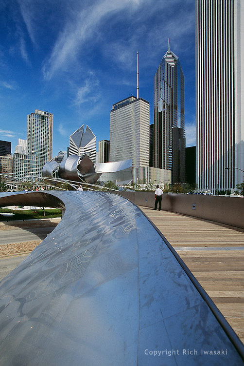 Detail of BP bridge and city skyline, Chicago, Illinois
