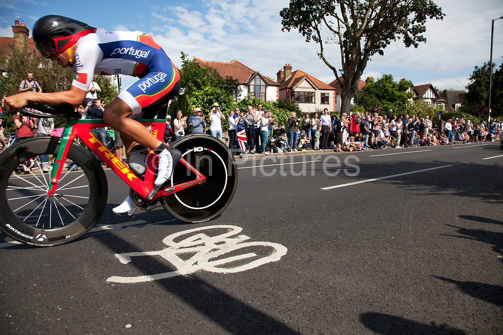London, UK. Wednesday 1st August 2012. The Men's Individual Time Trial cycling event passes through Twickenham on route to find the fastest male cyclist. Rider Nelson Filipe S. Simoes Oliveira of Portugal.