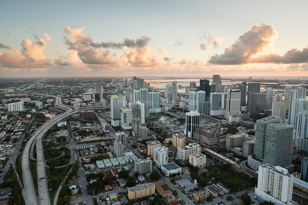 Aerial view of western downtown Miami and I-95 in the morning