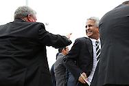 10 October 2013: U.S. Soccer Federation president Sunil Gulati (right) shares a moment with Carl Moore (left), father of 2013 inductee Joe-Max Moore (not pictured). The 2013 National Soccer Hall of Fame Induction Ceremony was held on the West Plaza outside Sporting Park in Kansas City, Kansas.