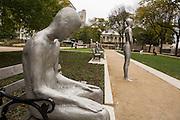 Borders a public sculpture installation by Icelandic artist Steinunn Thorarinsdottir in Solti Garden in Grant Park Chicago USA