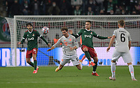 MOSCOW, RUSSIA - OCTOBER 27: Leon Goretzka of FC Bayern Muenchen is tackled by Daniil Kulikov of Lokomotiv Moskva during the UEFA Champions League Group A stage match between Lokomotiv Moskva and FC Bayern Muenchen at RZD Arena on October 27, 2020 in Moscow, Russia. (Photo by MB Media)