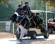 GLENDALE, ARIZONA - FEBRUARY 20:  Jose Abreu #79, Yoan Moncada #10 and other members of the Chicago White Sox ride a golf cart toward a practice field during spring training workouts on February 20, 2019 at Camelback Ranch in Glendale Arizona.  (Photo by Ron Vesely). Subject:   Jose Abreu; Yoan Moncada