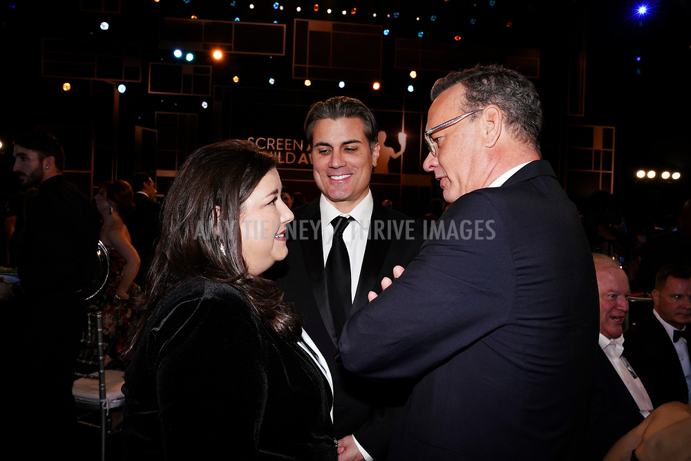 SAG-AFTRA New York Local President Rebecca Damon, SAG-AFTRA New York Local Executive Director Jeffrey Bennett, and Tom Hanks