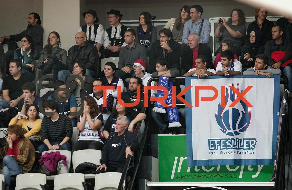 Anadolu Efes's supporters during their Turkish Basketball league derby match Besiktas between Anadolu Efes at the BJK Akatlar Arena in Istanbul Turkey on Saturday 31 December 2011. Photo by TURKPIX