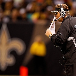 November 21, 2010; New Orleans, LA, USA; New Orleans Saints defensive coordinator Gregg Williams calls a play from the sideline during the second half against the Seattle Seahawks at the Louisiana Superdome. The Saints defeated the Seahawks 34-19. Mandatory Credit: Derick E. Hingle