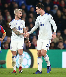 Cardiff City's Joe Bennett (left) and captain Sean Morrison during the Premier League match at Selhurst Park, south east London.