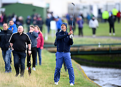 Ruud Gullit plays his second shot on the first hole during day two of the Alfred Dunhill Links Championship at Carnoustie. Picture date: Friday October 1, 2021.