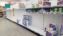 © Licensed to London News Pictures. 07/03/2020. London, UK. Morrisons store in London runs out of toilet rolls amid an increased number of cases of Coronavirus (COVID-19) in the UK. Forty two more people have tested positive of the virus, taking the total to 206 in the UK. Photo credit: Dinendra Haria/LNP