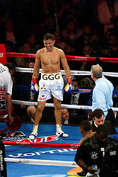 """INGLEWOOD, CA - MAY 16: Undefeated WBA middleweight champion Gennady """"GGG"""" Golovkin  (33-0-0, 30 KOs) defeated Contender Willie Monroe Jr. (19-2-0, 6 KOs) by TKO. The referee stopped the bout in the sixth round, after Monroe Jr. hit the canvas for the last time. 2015 May 16. Byline, credit, TV usage, web usage or linkback must read SILVEXPHOTO.COM. Failure to byline correctly will incur double the agreed fee. Tel: +1 714 504 6870."""
