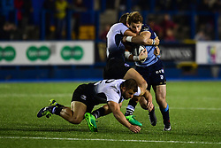 Blaine Scully of Cardiff Blues is tackled by Mattia Bellini of Zebre Rugby Club - Mandatory by-line: Craig Thomas/JMP - 04/11/2017 - RUGBY - BT Sport Cardiff Arms Park - Cardiff, Wales - Cardiff Blues v Zebre Rugby Club - Guinness Pro 14