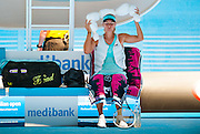 Maria Sharapova (RUS) chills with an ice vest and an ice collar down during Australian Open day 4 play against K. Knapp (GER). Temperatures are at all time highs in Melbourne and expected to hit 44 C / 111.2 F today.