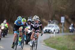 Floortje Mackaij l(Sunweb) eads a break of three at Strade Bianche - Elite Women. A 127 km road race on March 4th 2017, starting and finishing in Siena, Italy. (Photo by Sean Robinson/Velofocus)